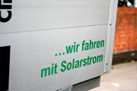 ... wir fahren mit Solarstrom